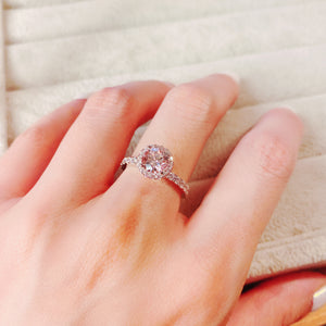 Halo Setting Pink Solitaire Ring 光環碎鑽粉红戒指 (JR077)
