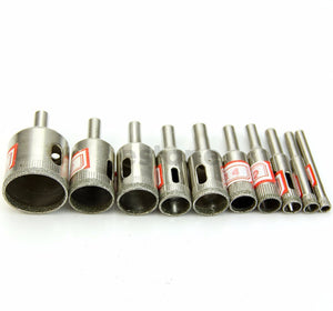 Set of 10 Diamond Coated Hole Drill Bits for Marble Glass Ceramic Tiles from 1/4