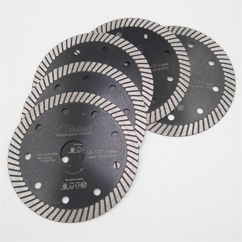 "Set of 5 x 4.5"" Inches super-thin turbo diamond blades - Dashing Blade"