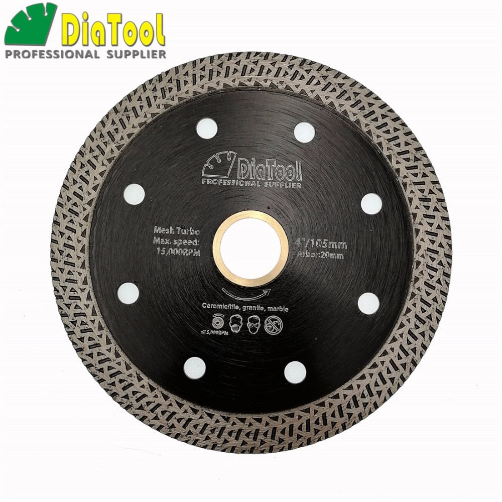 "DIATOOL 4""/ 4.5""/ 5"" Hot-pressed Sintered Diamond Cutting Disc With Mesh Turbo Rim Segment Blade 105mm, 115mm or 125mm SawBlade - Dashing Blade"