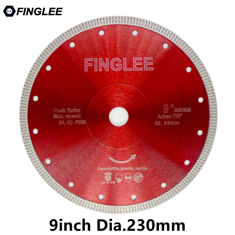 FINGLEE 1Pc Dia.230mm Diamond Cutting Disc Turbo Wave Style for Granite,Ceramic,Porcelain,Concrete,Stone Work - Dashing Blade