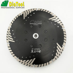 "DIATOOL 230mm Hot pressed Diamond turbo Blade with Slant protection teeth  9"" Diamond Blades for stone concrete cutting with M14 - Dashing Blade"
