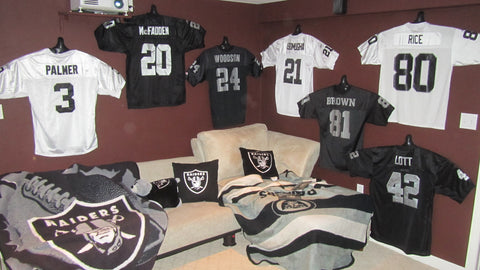 Oakland Raiders man cave with ShirtWhiz Jersey Display