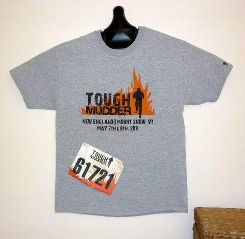 JerseyGenius® used to hang a Tough Mudder t-shirt