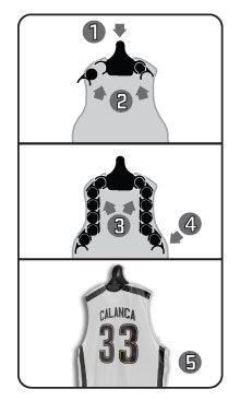 JerseyGenius™ basketball jersey hanging instructions