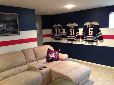Washington Capitols NHL man cave photo with JerseyGenius™ Jersey Hangers