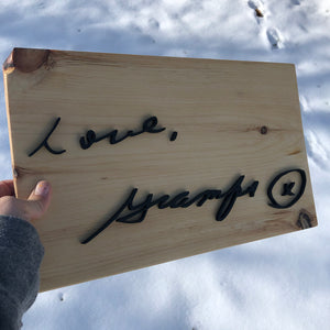 Handwriting Replica Sign With Frame - Oak&Feather
