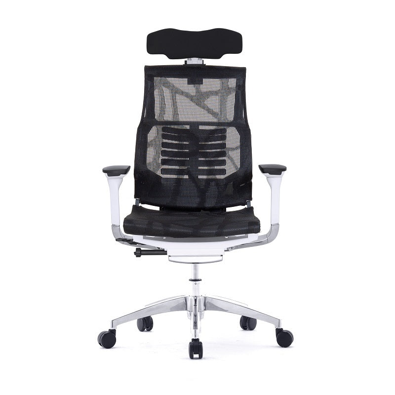 "POFIT Black Mesh / White Frame With Headrest with APPs ""COMFORT SMART"" Version (5 Years Warranty)"