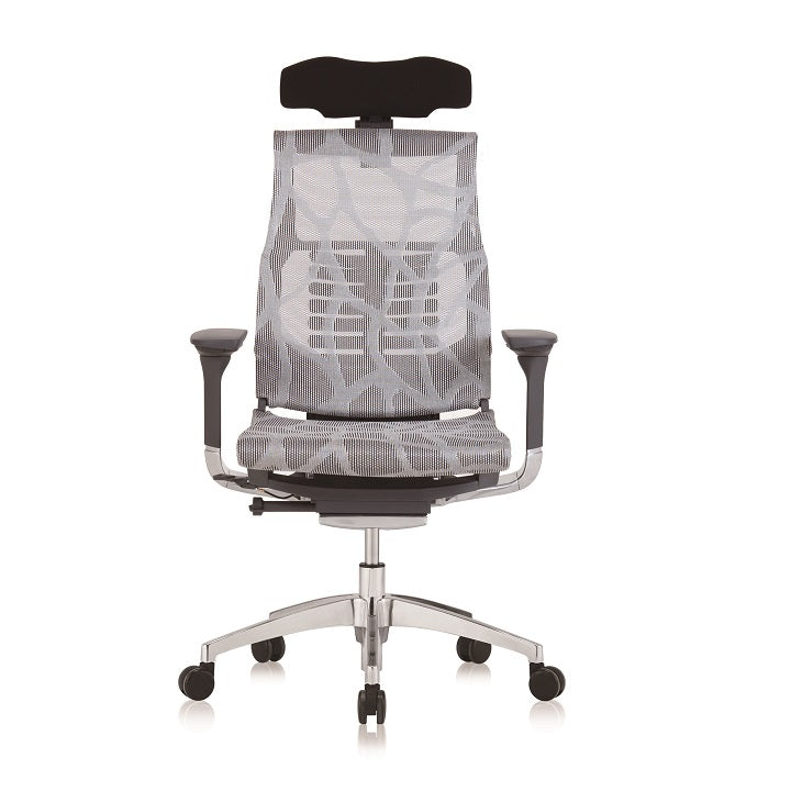 POFIT White Mesh / Matt Black Frame With Headrest w/o APPs (5 Years Warranty)
