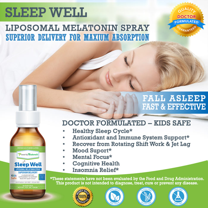 Sleep Well - Liquid Melatonin 3mg - Power By Naturals
