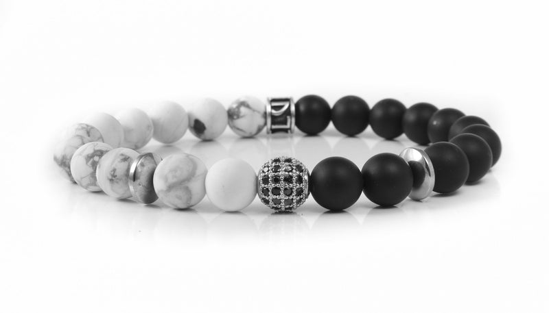 Stone Bead - Two Tone with Pave Accent