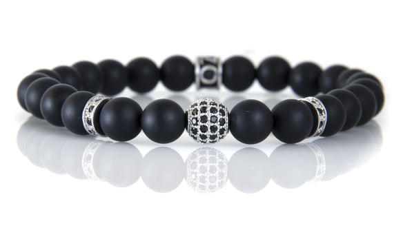 Stone Bead - Single Tone with Pave Accent