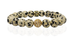 Stone Bead - Dalmation Jasper (Gold Plated Accent) - Luenzo