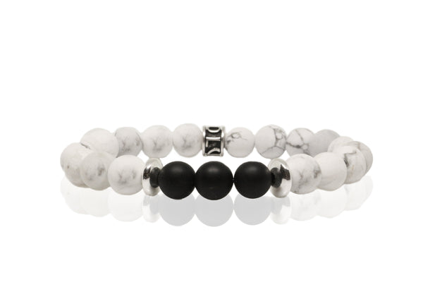 Stone Bead - Howelite & Black Onyx - Luenzo