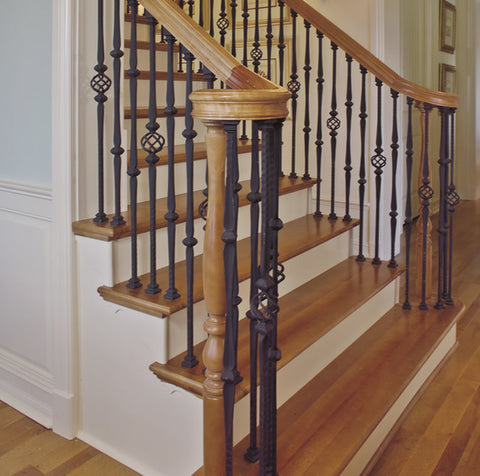 Staircase with Iron Balusters.