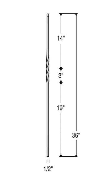 single twist knee wall  2650  baluster  spindle  pickets