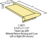 "Returned Tread RH Cap 5-1/4""x 12"" : C-8071 