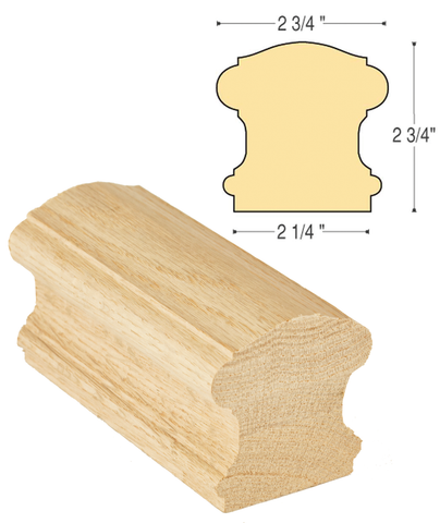Bristol Straight Rail Solid Cap: C-6110S | Stair parts