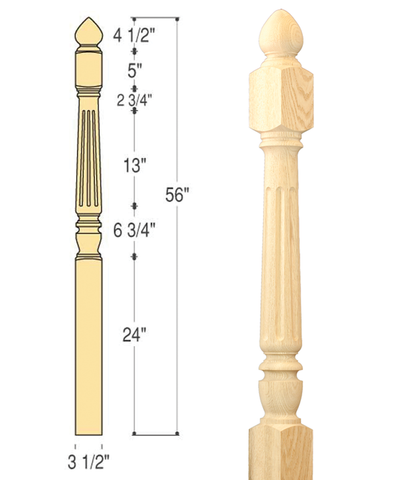 Chippendale Colonial Top Fluted Starting Newel :  C-4280 L | Stair parts
