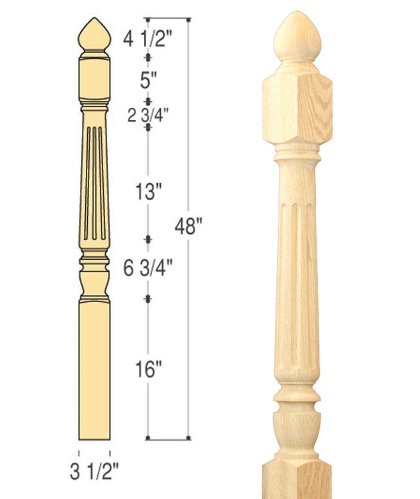 Chippendale Colonial Top Fluted Starting Newel : C-4280
