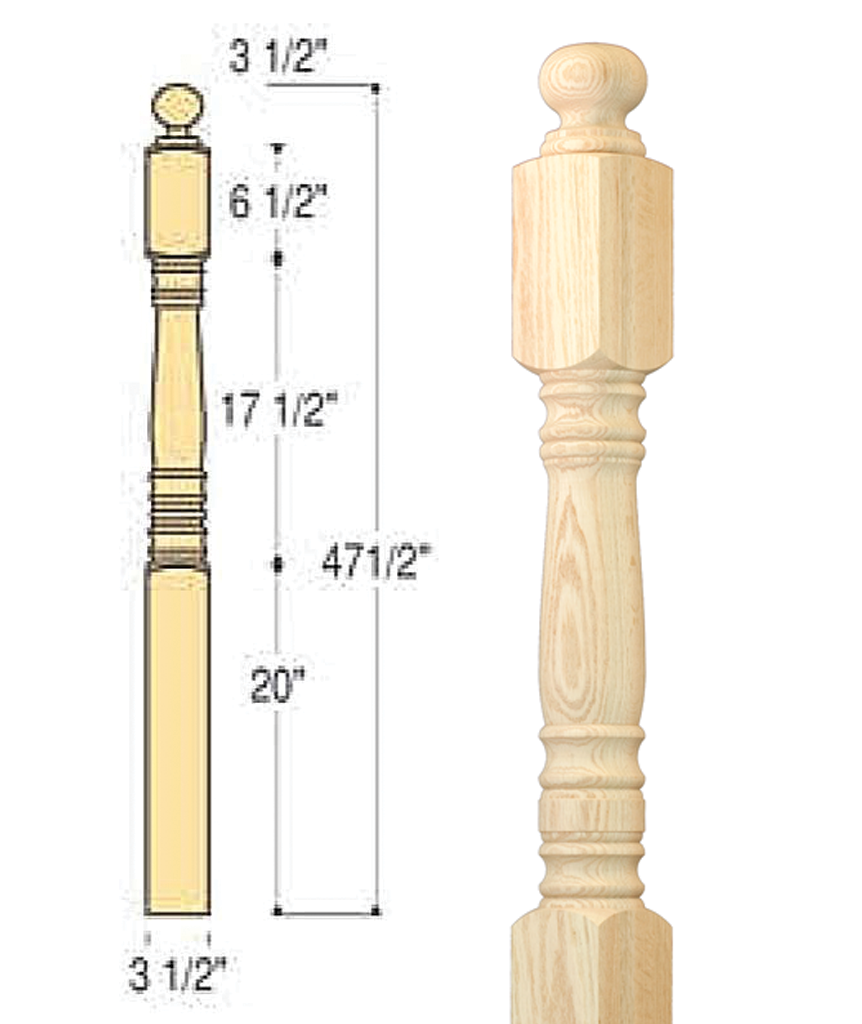 Classic Ball Top Starting Newel : C-4007 | Stair parts