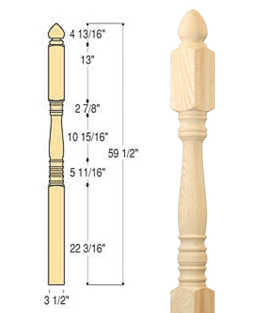 Classic Colonial Top Angle/Landing Newel : C-4245 | Stair parts