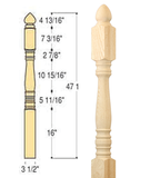 Classic Colonial Top Starting Newel : C-4240 | Stair parts