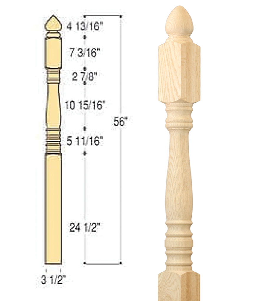 Classic Colonial Top Starting Newel : C-4242 | Stair parts