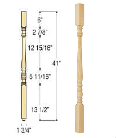 Classic Square Top Wood Baluster : C-5601