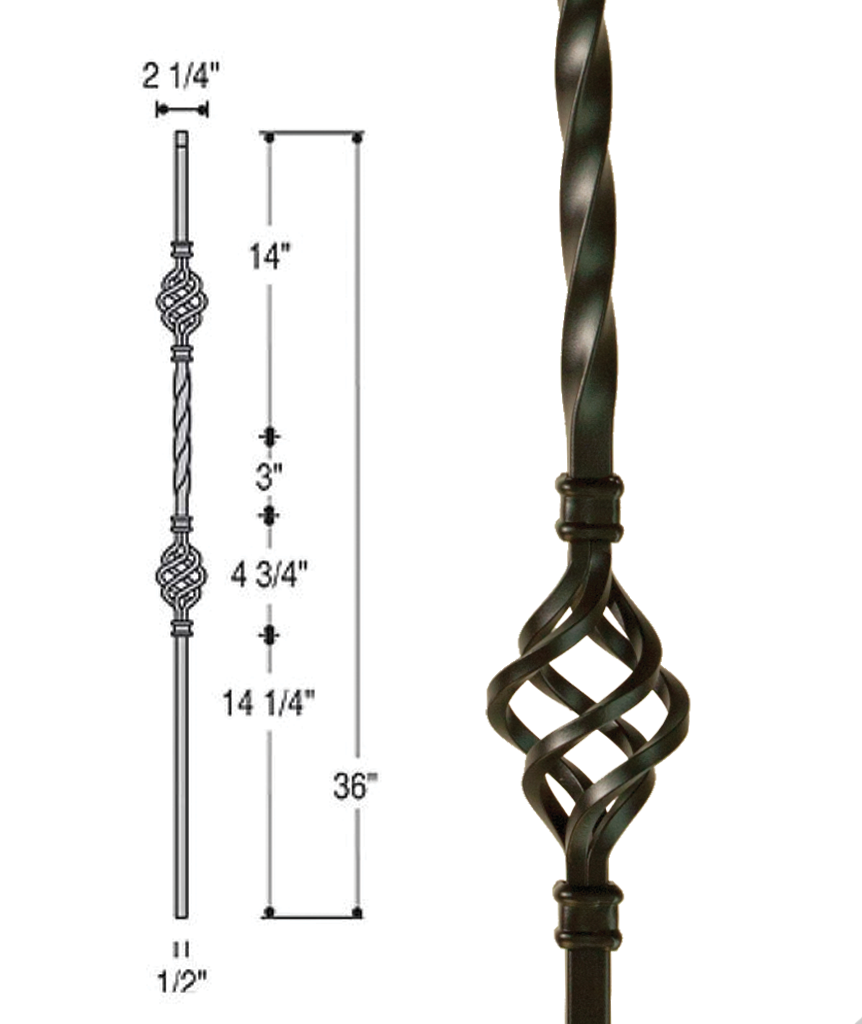 Double Basket Iron Baluster : 2653 | Stair parts