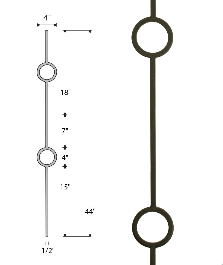 Double Ring Medallion Iron Baluster : 2931 | Stair parts