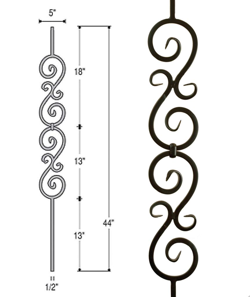 Double Scroll Iron Baluster : 2583