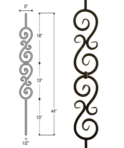 Double Scroll Iron Baluster : 2583 | Stair parts