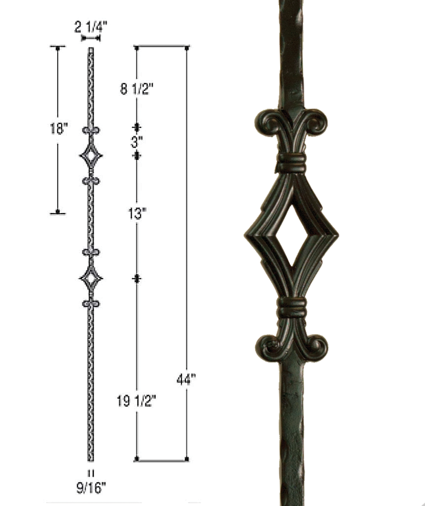 Double Window Iron Baluster : 2761 | Stair parts