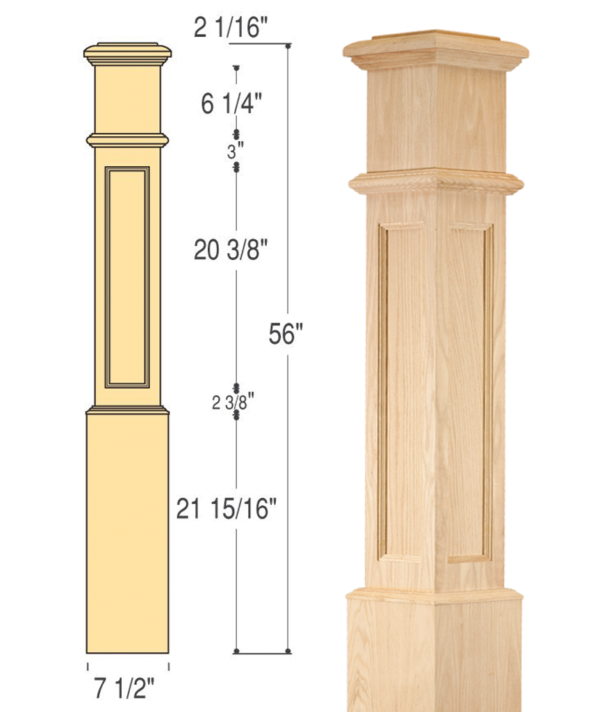 Flat Panel Box Newel (Large) : C-4891-FP | Stair parts