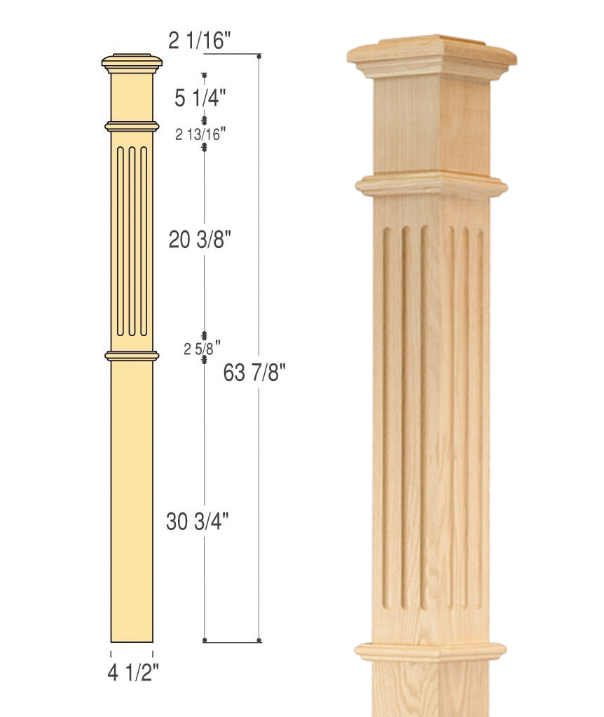 fluted box newel c 4095 f direct stair parts