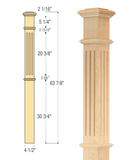 Fluted Box Newel : C-4695-F | Stair parts
