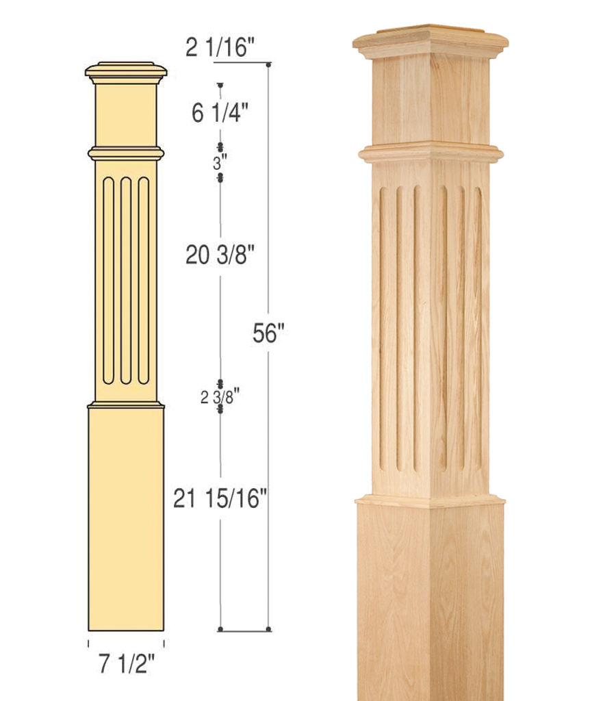 Fluted Box Newel (Large : C-4095-F | Stair parts