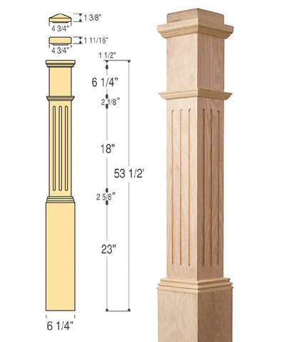 Fluted Box Newel with Interchangeable Caps :  C-4091-F | Stair parts