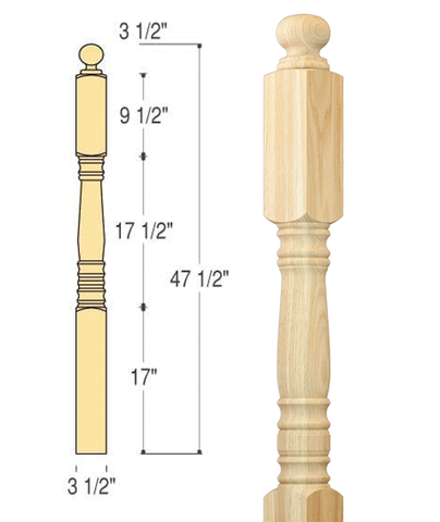 Hampton Starting Newel : C-4001 | Stair parts
