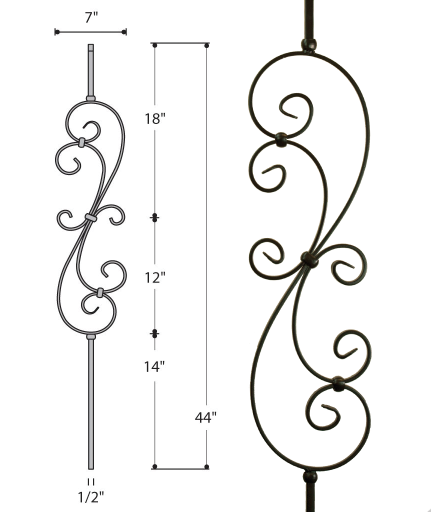 Large Scroll Iron Baluster : 2580 | Stair Parts ...