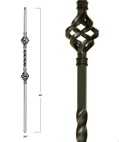 Mega Double Basket Iron Baluster : 2853 | Stair parts