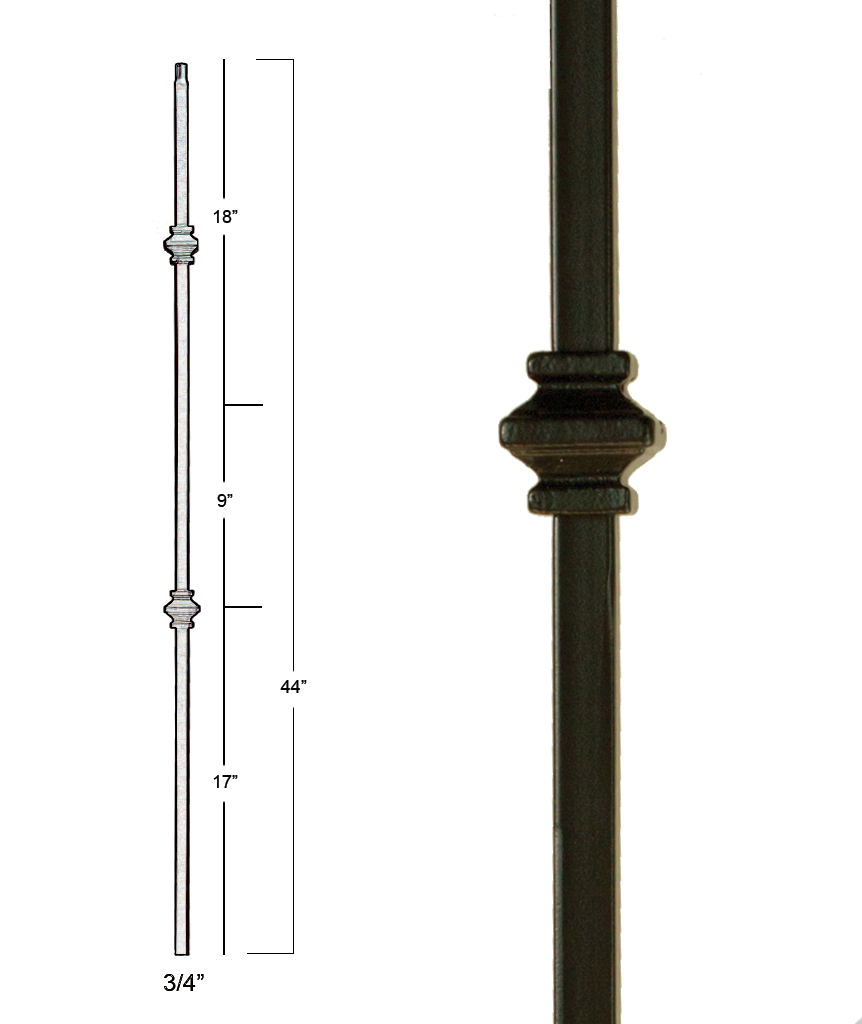 Mega Double Knuckle Iron Baluster : 2857 | Stair parts