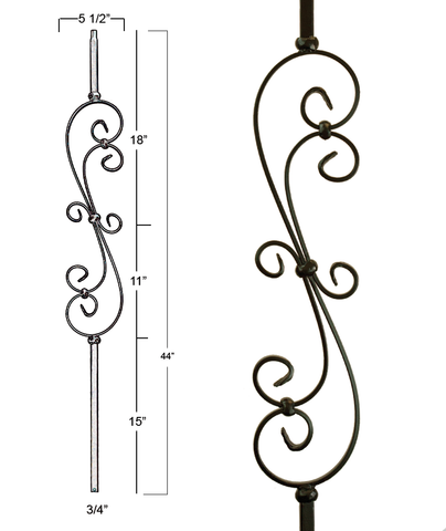 Mega Skinny Scroll Iron Baluster : 2881 | Stair parts