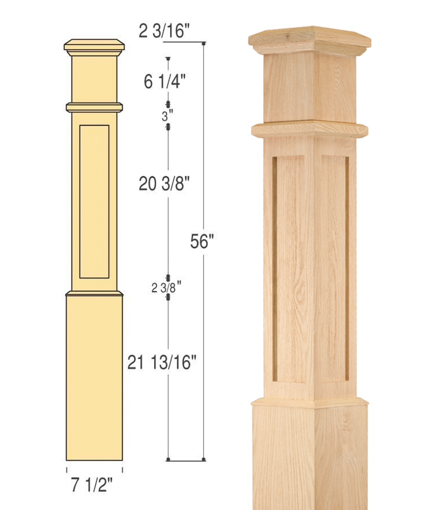 Mission Box Newel (Large) : C-4890 | Stair parts