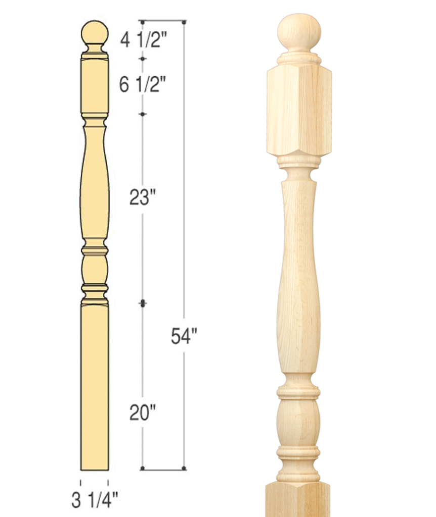 Richmond Ball Top Starting Newel : C-4442 | Stair parts