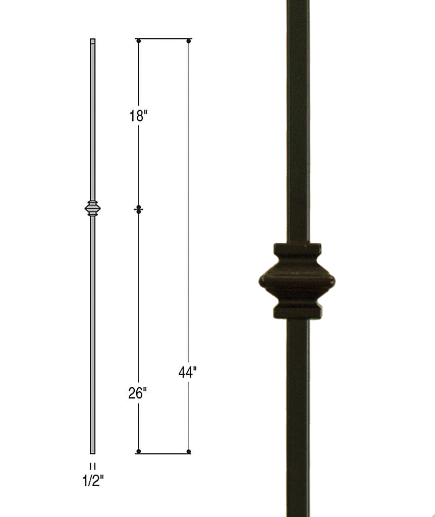 Single Knuckle Iron Baluster : 2556
