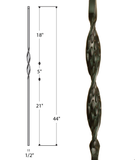 Single Ribbon Iron Baluster : 2560