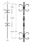 Single Ribbon Double Butterfly Iron Baluster : 2563