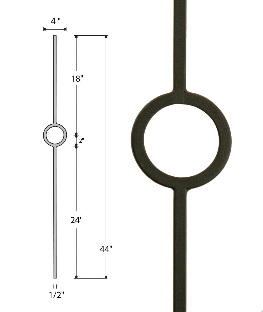 Single Ring Medallion Iron Baluster : 2930 | Stair parts